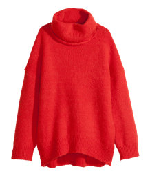 Wool-blend polo-neck jumper