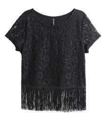 Lace top with fringes