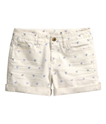 Patterned twill shorts