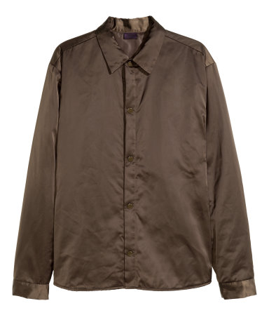 Padded Shirt Jacket in Satin