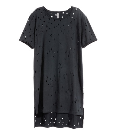 Hole-pattern T-shirt | Black | SALE | H&M US