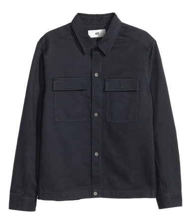 Cotton Shirt Jacket | Dark blue | Men | H&M US