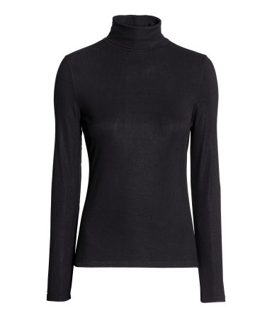 Ribbed Turtleneck Top | Black | SALE | H&M US