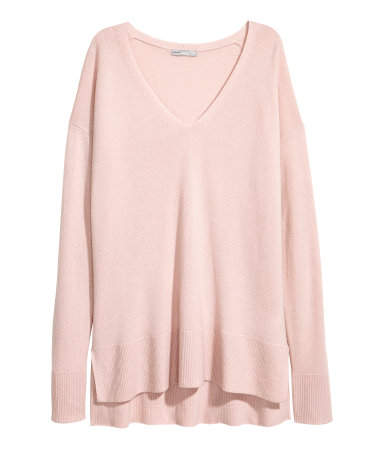 V-neck Cashmere Sweater | Light pink | SALE | H&M US