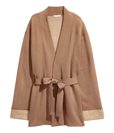 camel oversized cardigan H&M