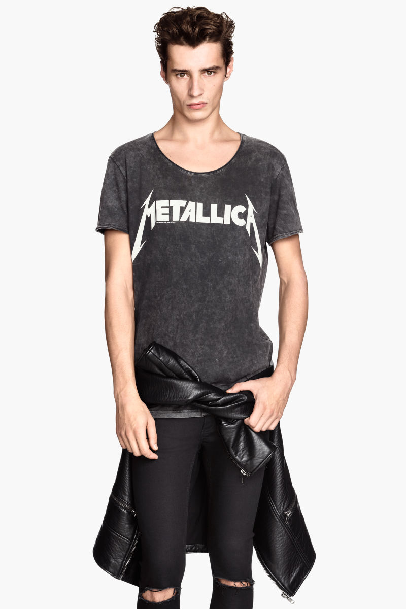 T Shirt With Printed Design Nearly Black Metallica