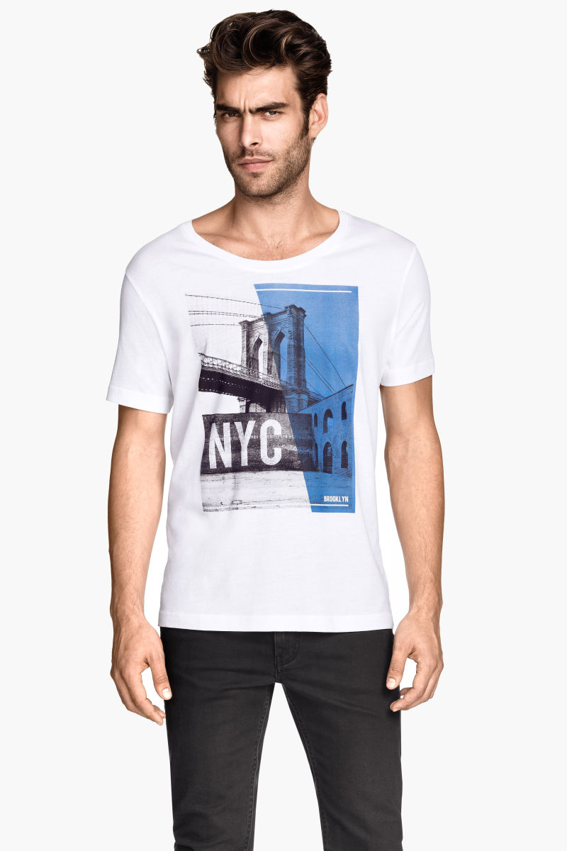 T shirt with printed design white new york sale h m us for T shirt screen printing nyc