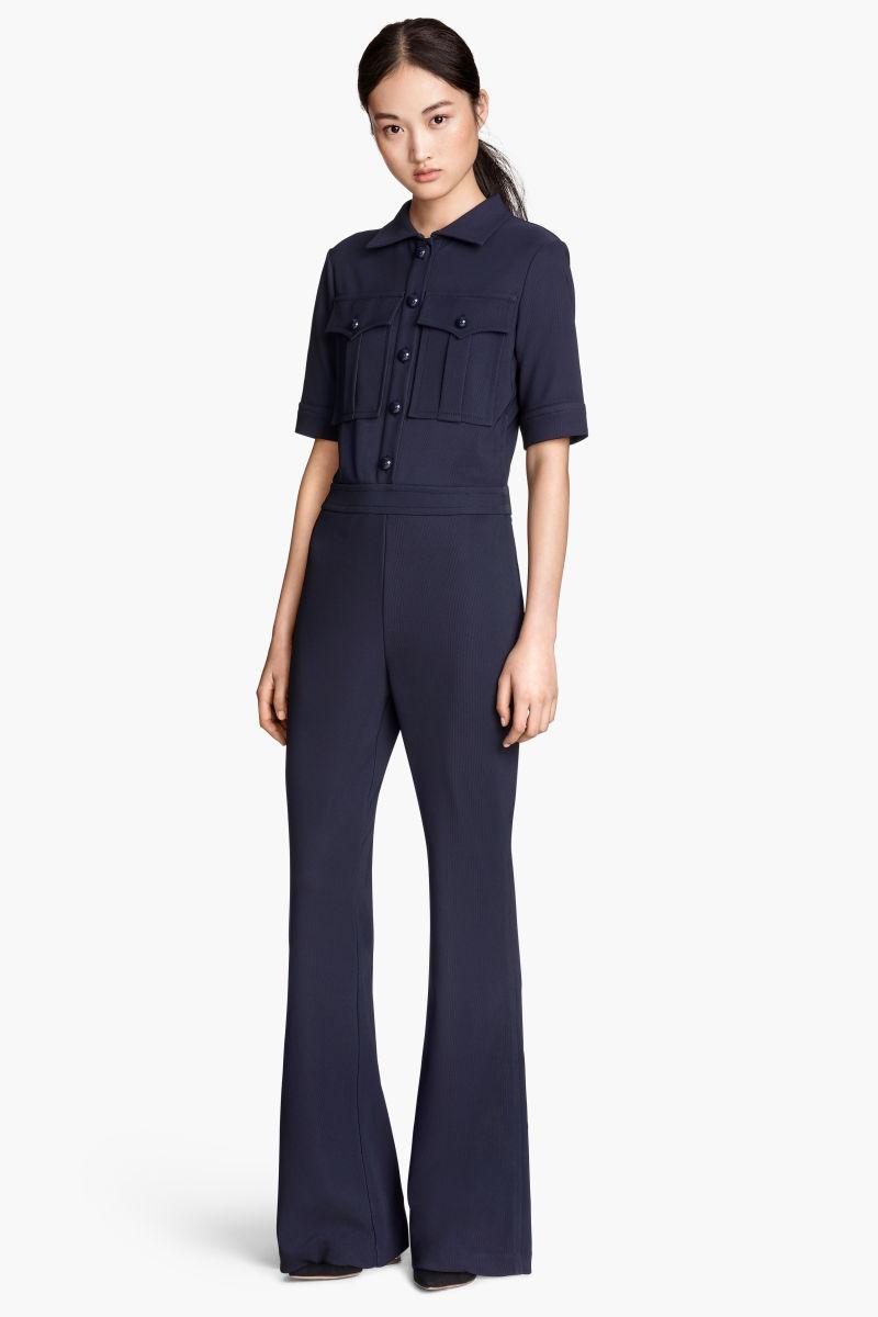 short sleeved jumpsuit dark blue sale h m us. Black Bedroom Furniture Sets. Home Design Ideas