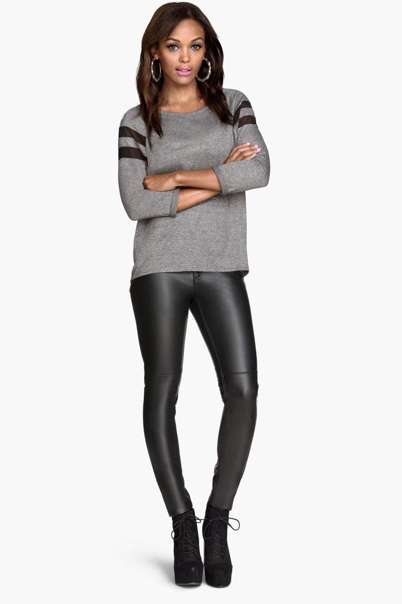biker pants black leather imitation sale h m us. Black Bedroom Furniture Sets. Home Design Ideas