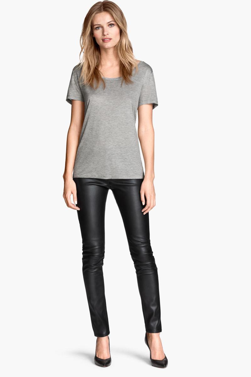 imitation leather pants black sale h m us. Black Bedroom Furniture Sets. Home Design Ideas