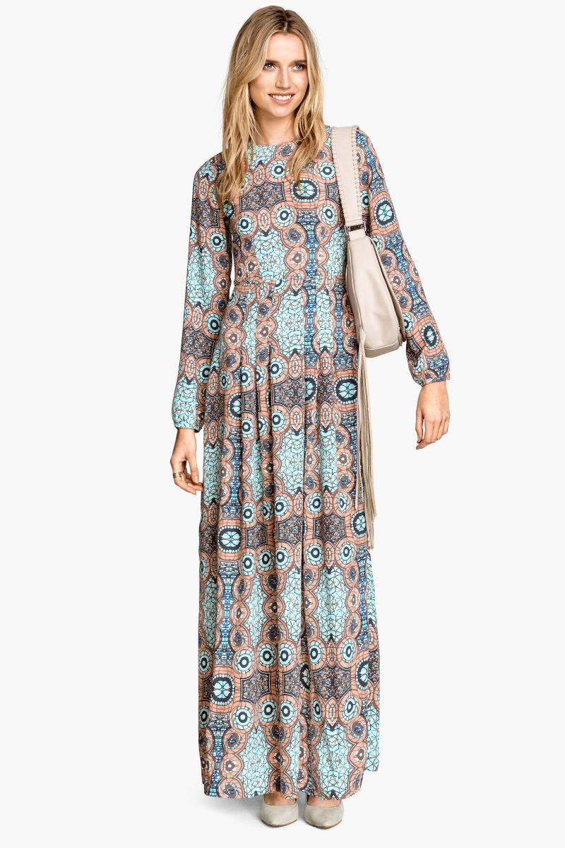 long dress powder pink patterned sale h m us. Black Bedroom Furniture Sets. Home Design Ideas