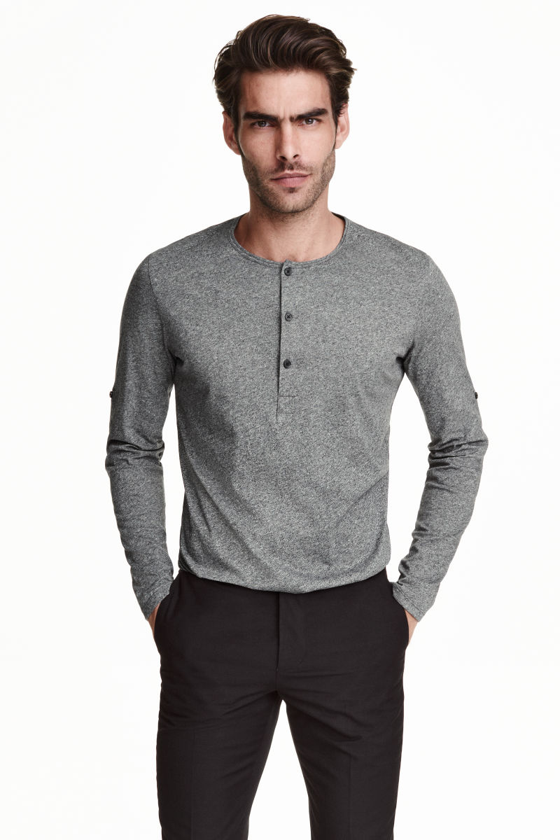 henley shirt gray sale h m us