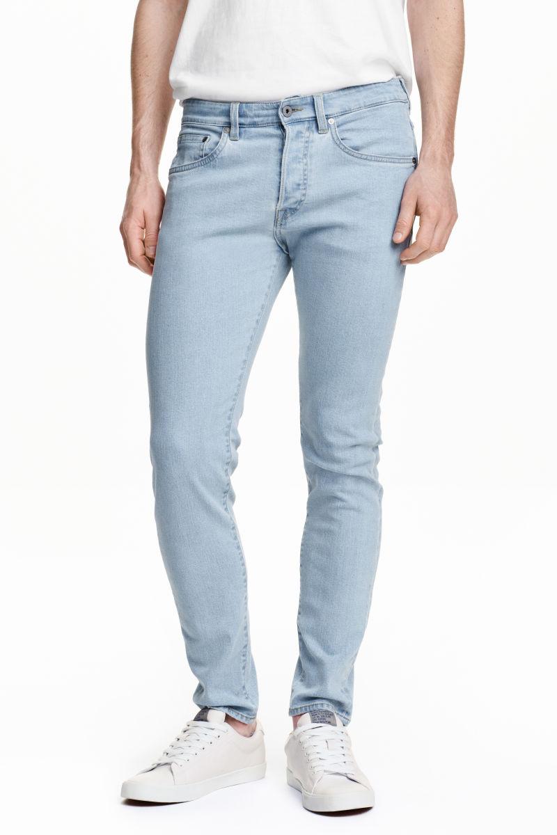 skinny low jeans pale denim blue men h m us. Black Bedroom Furniture Sets. Home Design Ideas