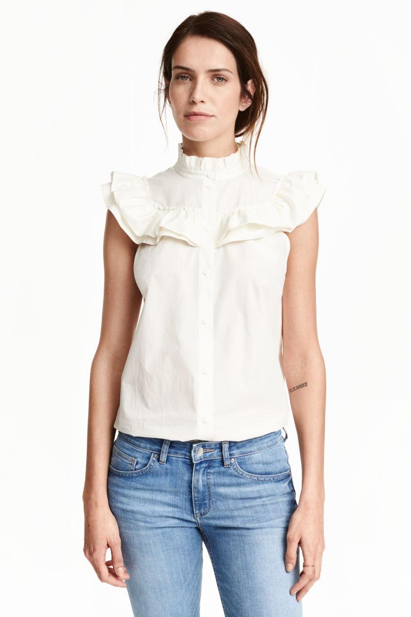 ruffled cotton blouse white sale h m us. Black Bedroom Furniture Sets. Home Design Ideas