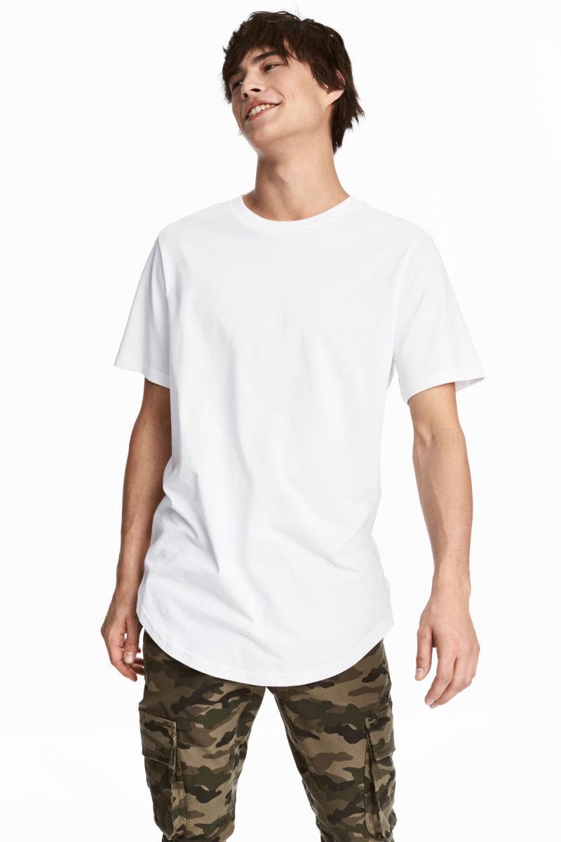 cotton jersey t shirt white men h m us. Black Bedroom Furniture Sets. Home Design Ideas