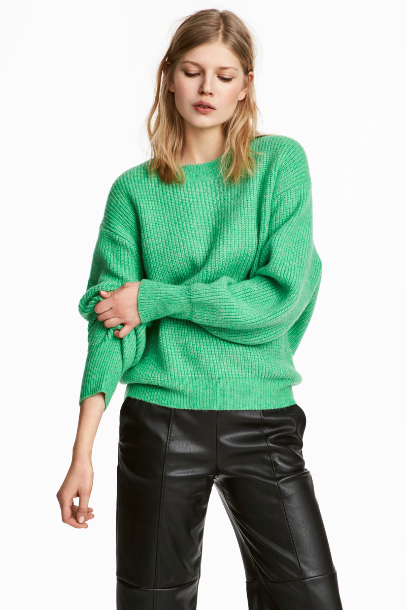 Rib-knit Sweater | Light green melange | SALE | H&M US