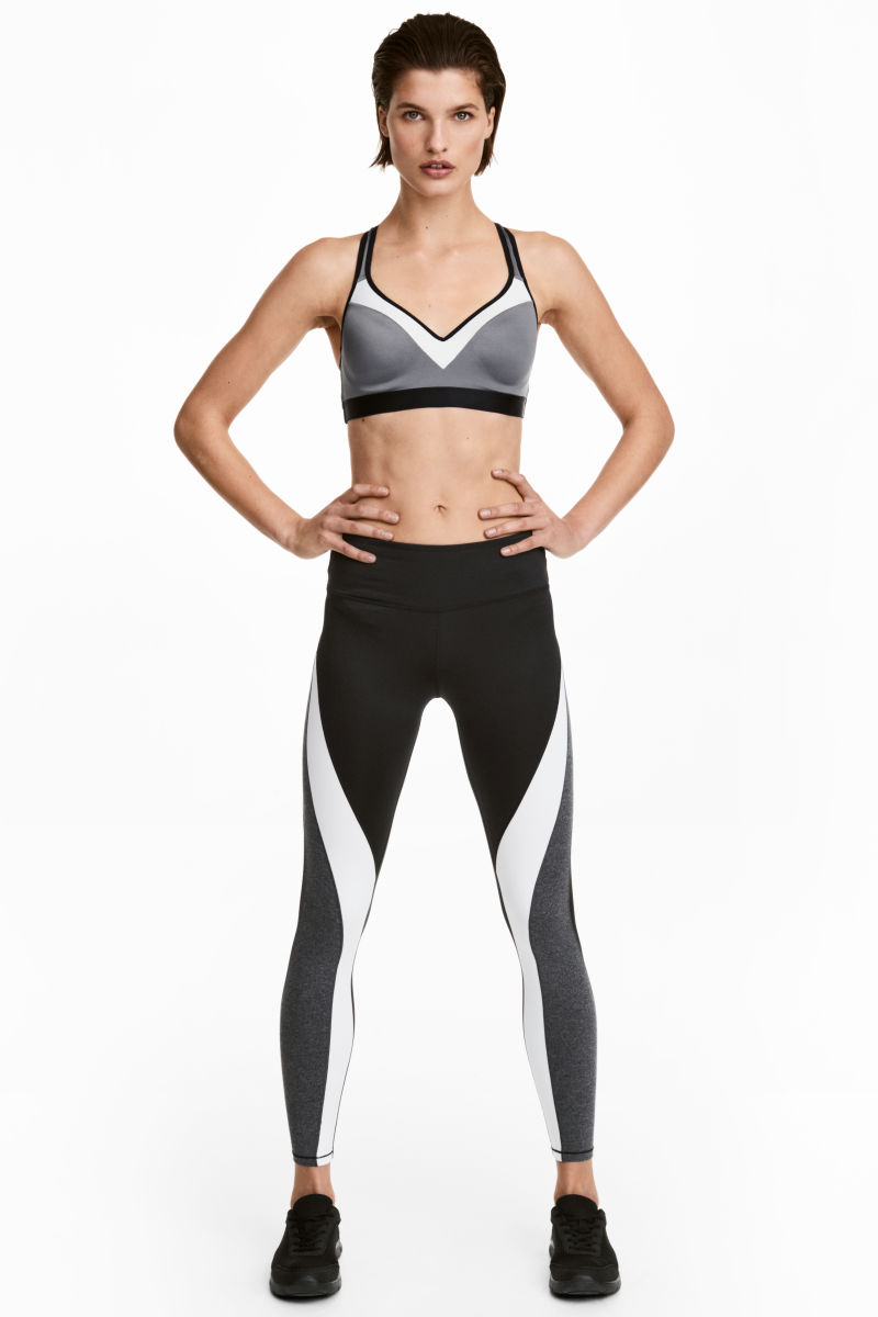 Sports Tights | Black/white | SALE | H&M US