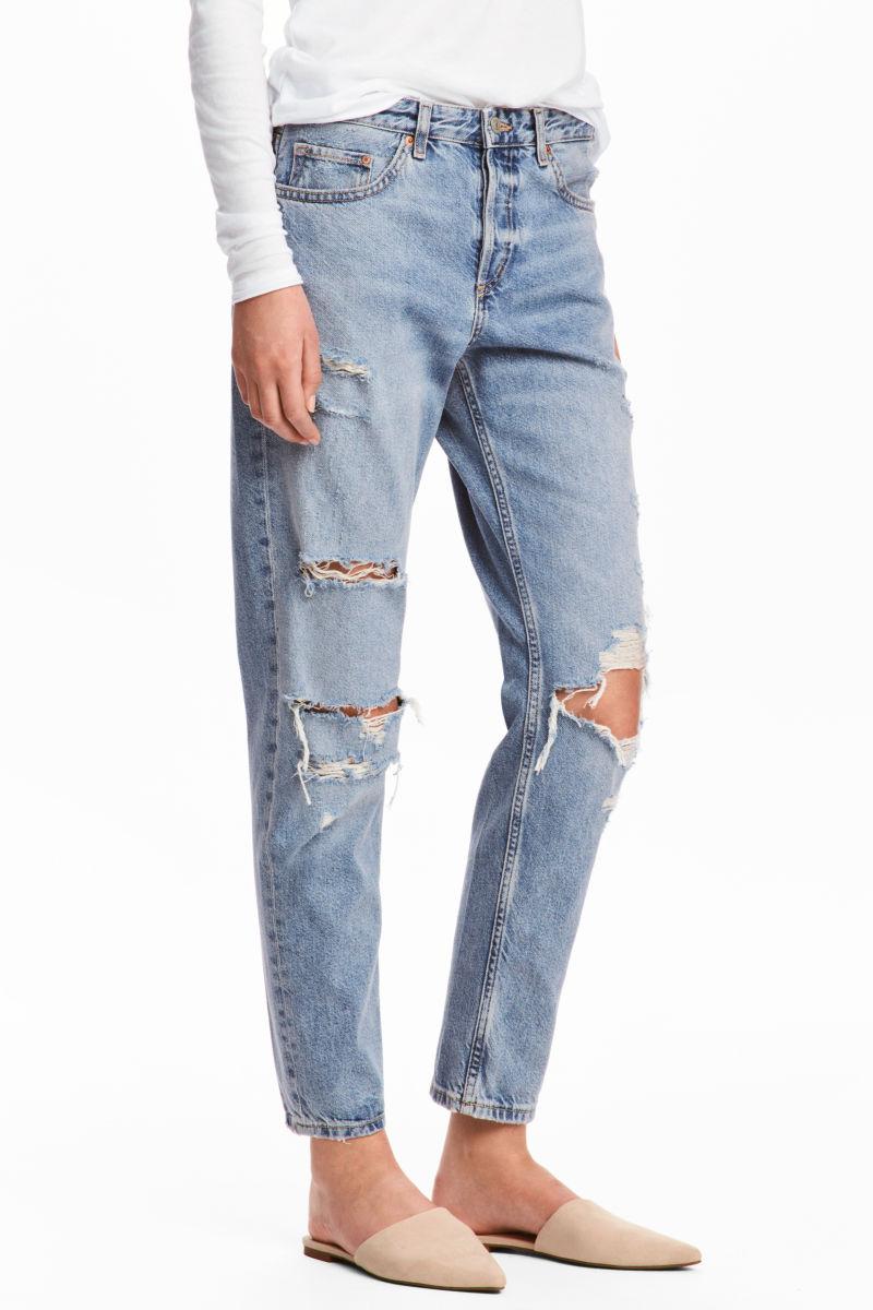 boyfriend low ripped jeans light denim blue trashed women h m us. Black Bedroom Furniture Sets. Home Design Ideas