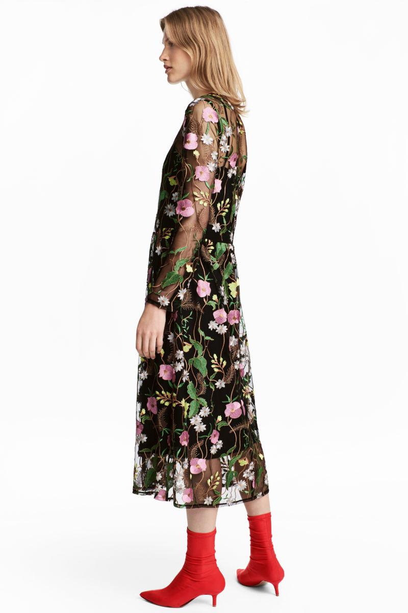 embroidered mesh dress black floral sale h m us. Black Bedroom Furniture Sets. Home Design Ideas