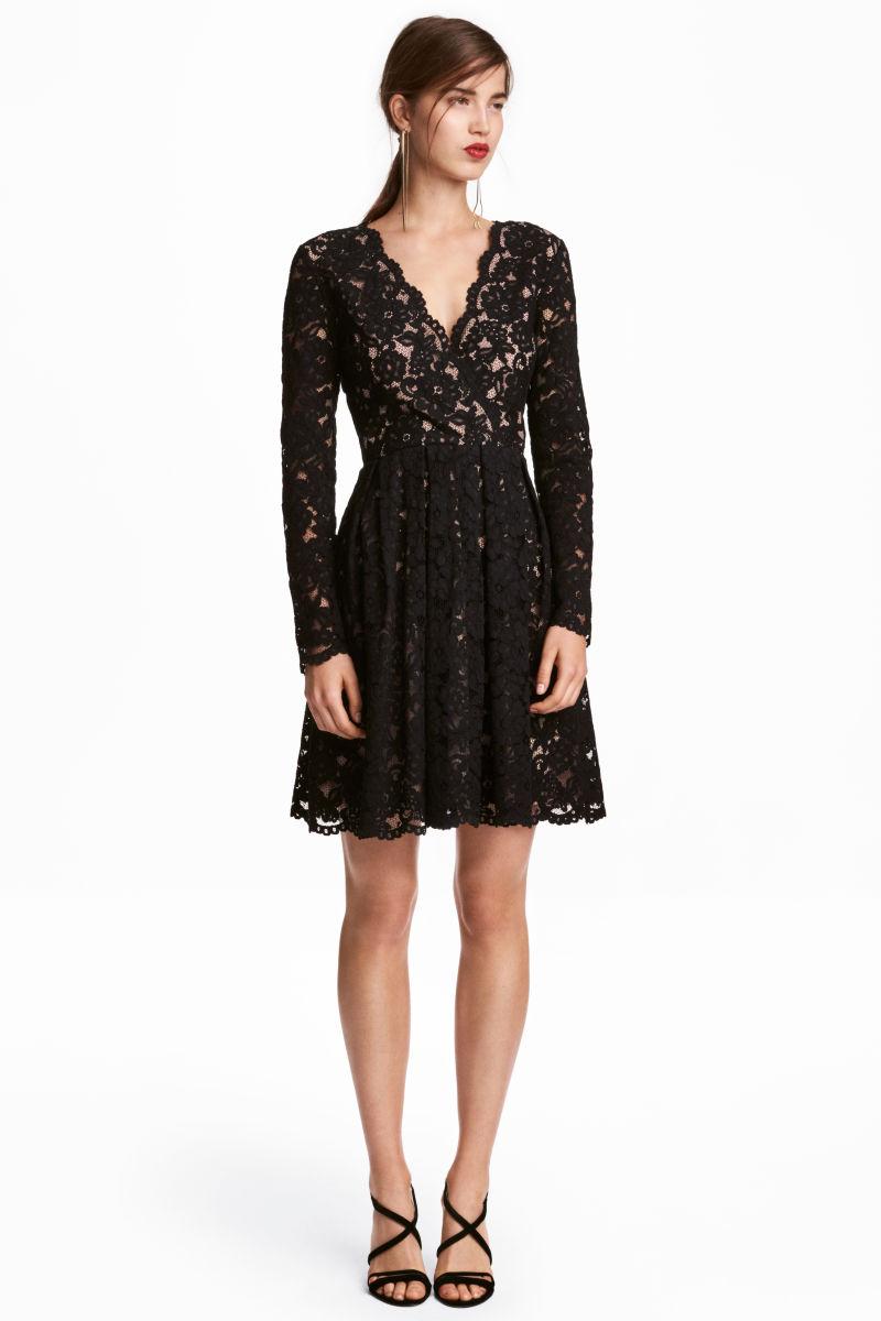 lace v neck dress black sale h m us. Black Bedroom Furniture Sets. Home Design Ideas