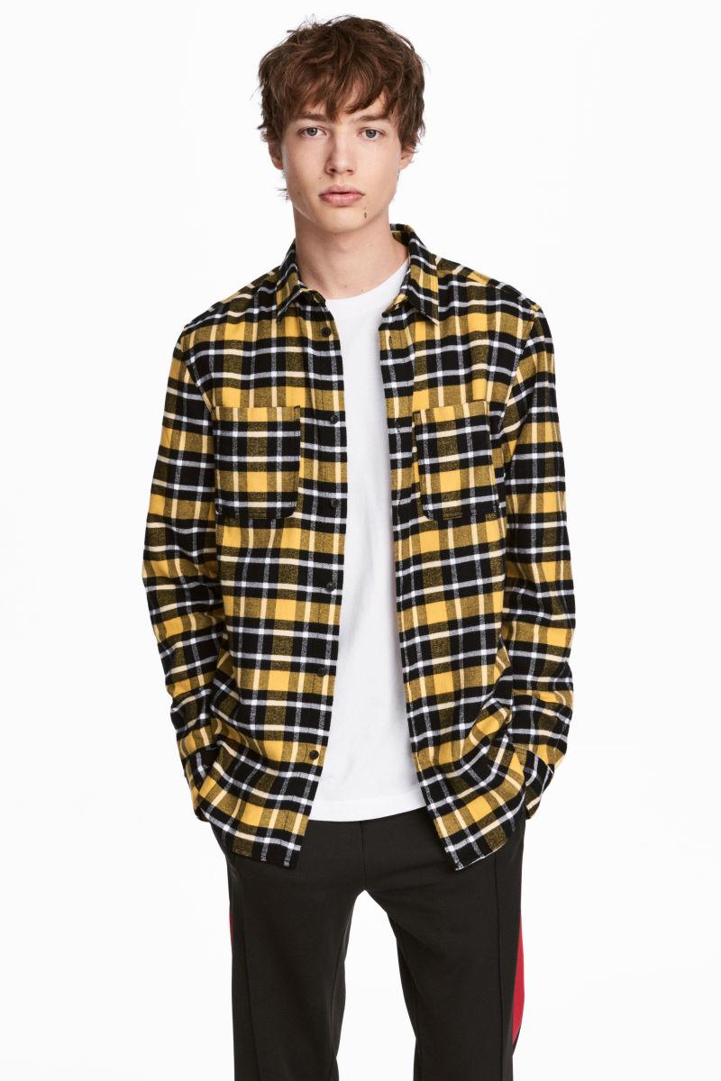 Flannel shirt yellow black plaid men h m us for Mens yellow plaid flannel shirt