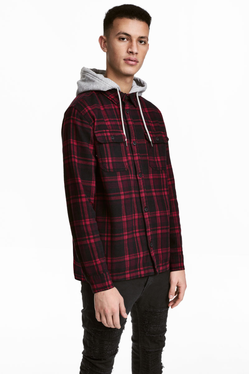 Flannel shirt with hood dark red black plaid men h m us for Cotton polyester flannel shirts