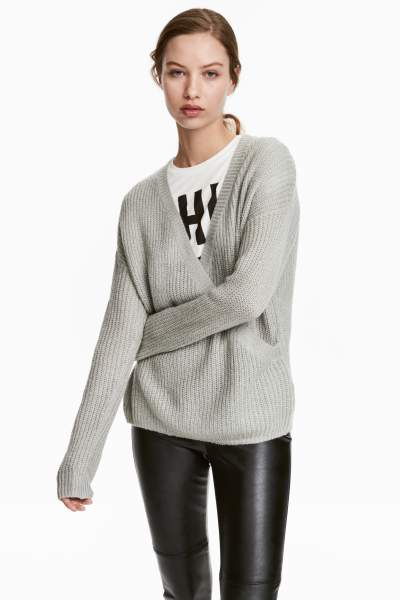 Knit Wrapover Sweater
