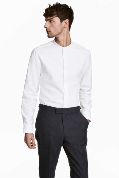 Band-collar Shirt Slim fit