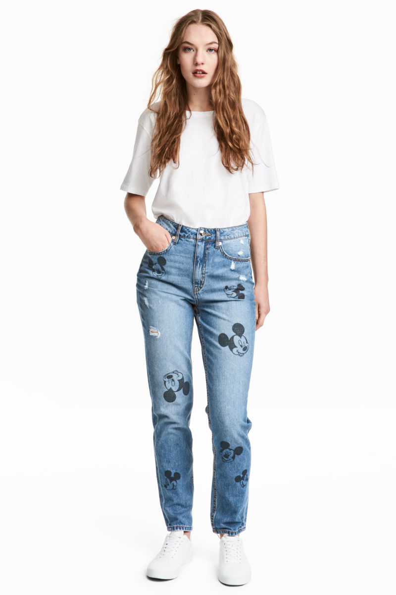 Slim Mom Jeans | Denim blue/Mickey Mouse | SALE | H&M US