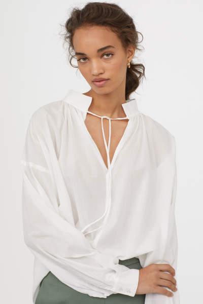 Wide-cut Cotton Blouse