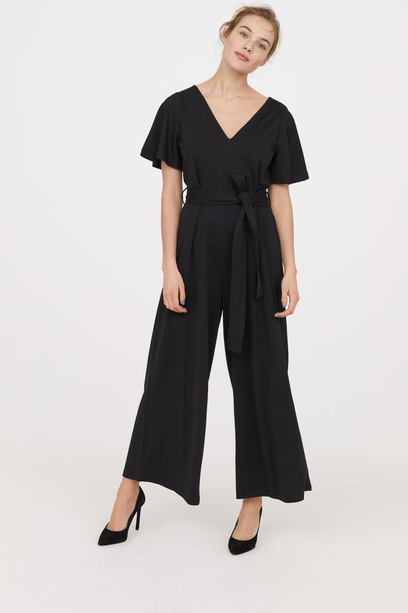 jumpsuit with tie belt black women h m us. Black Bedroom Furniture Sets. Home Design Ideas