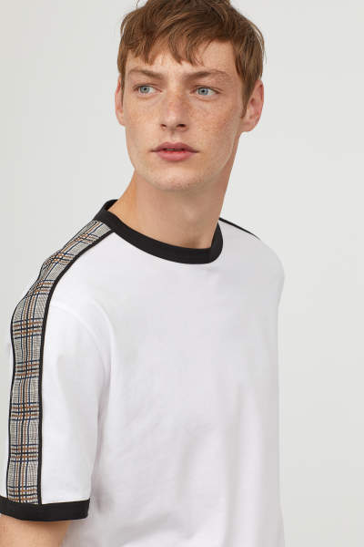 T-shirt with Checked Trim