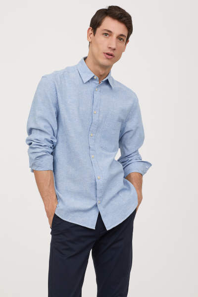 Regular Fit Linen-blend Shirt