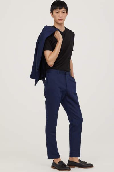 Slim Fit Cropped Suit Pants