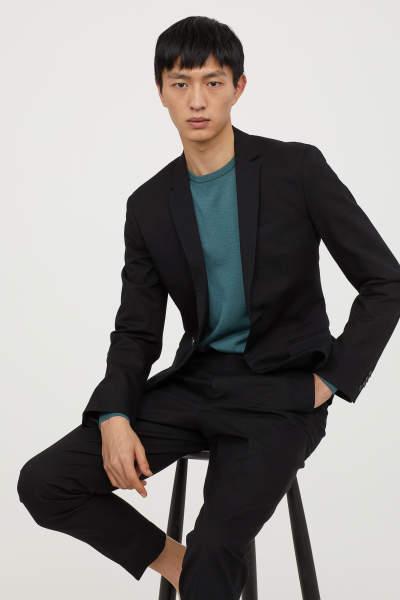 Slim Fit Linen-blend Blazer