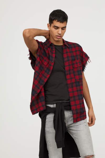 Short-sleeved Flannel Shirt