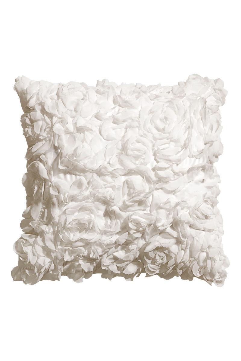 Satin Cushion Cover White SALE H&M US