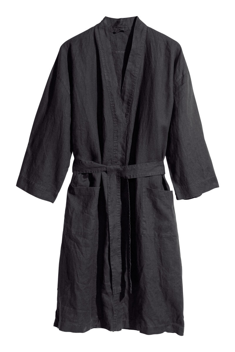 Washed linen dressing gown | Anthracite grey | H&M HOME | H&M AU