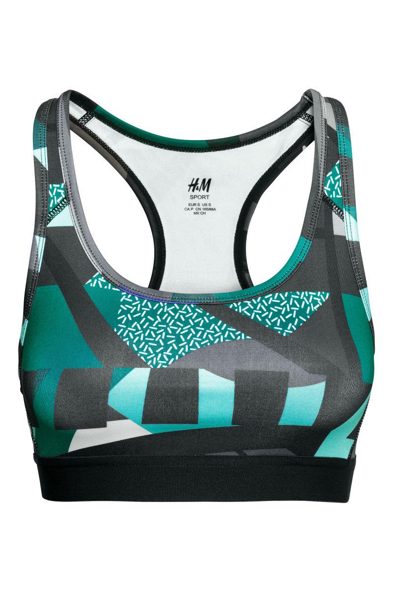 sports bra medium support turquoise patterned sale h. Black Bedroom Furniture Sets. Home Design Ideas