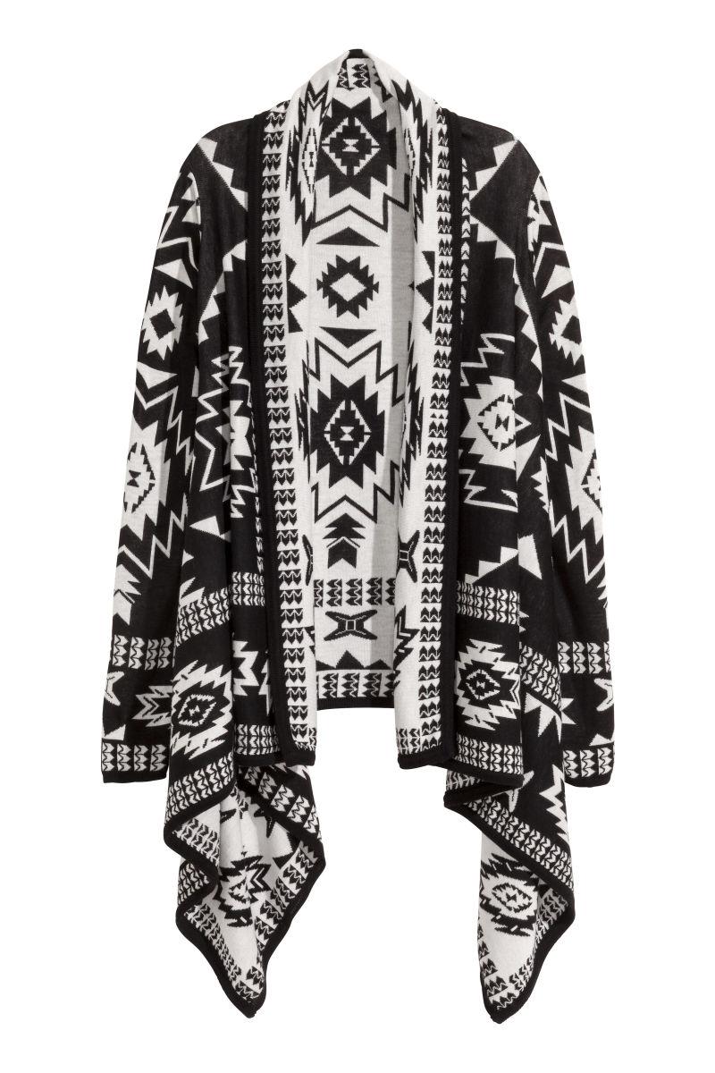 jacquard knit cardigan black patterned sale h m us. Black Bedroom Furniture Sets. Home Design Ideas