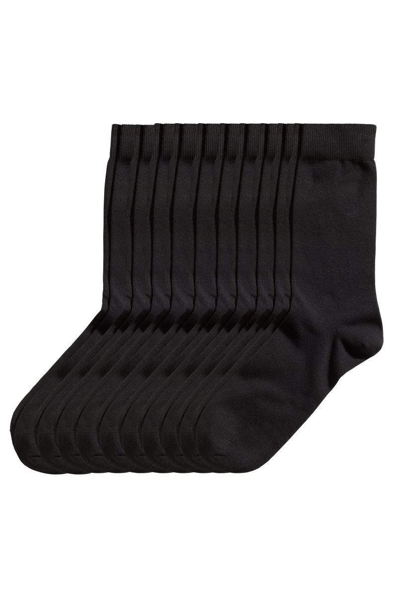 10 pack socks black sale h m us. Black Bedroom Furniture Sets. Home Design Ideas