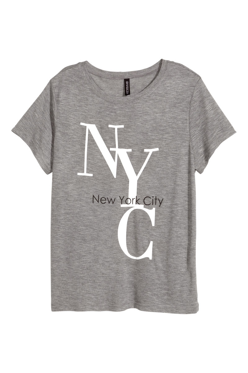 T shirt with printed design gray new york sale h m us for T shirt screen printing nyc