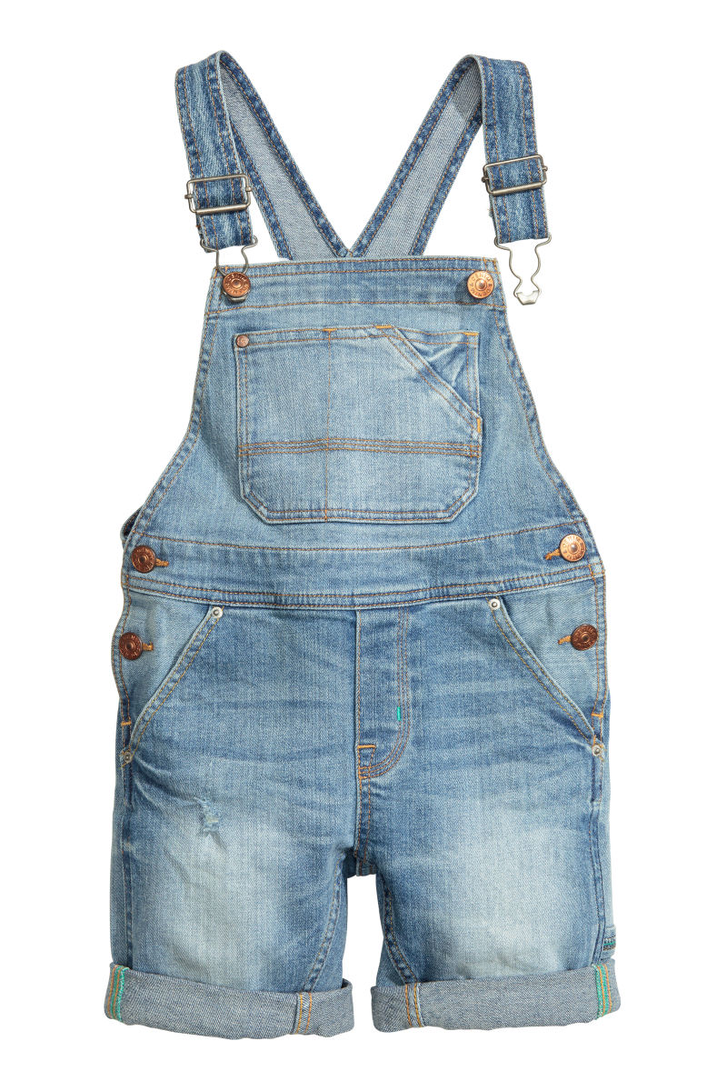 Denim Bib Overall Shorts Light Denim Blue Kids H Amp M Us