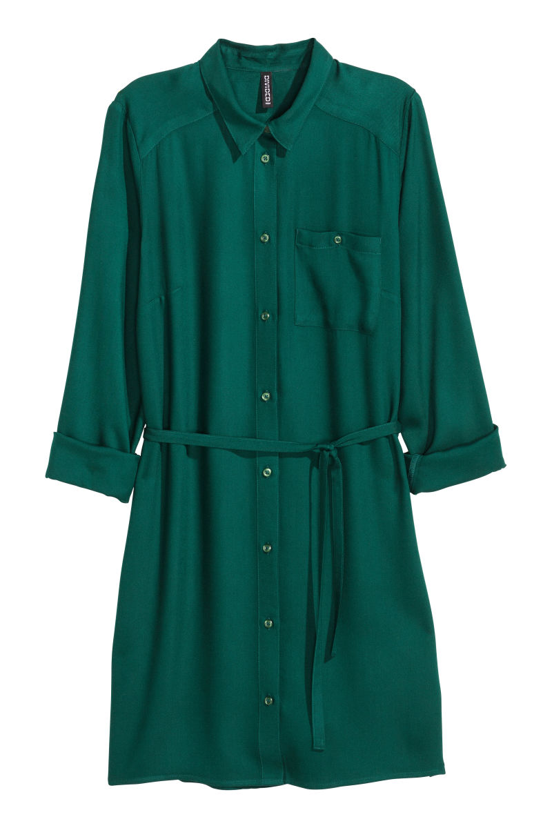 Shirt Dress | Emerald green | SALE | H&M US