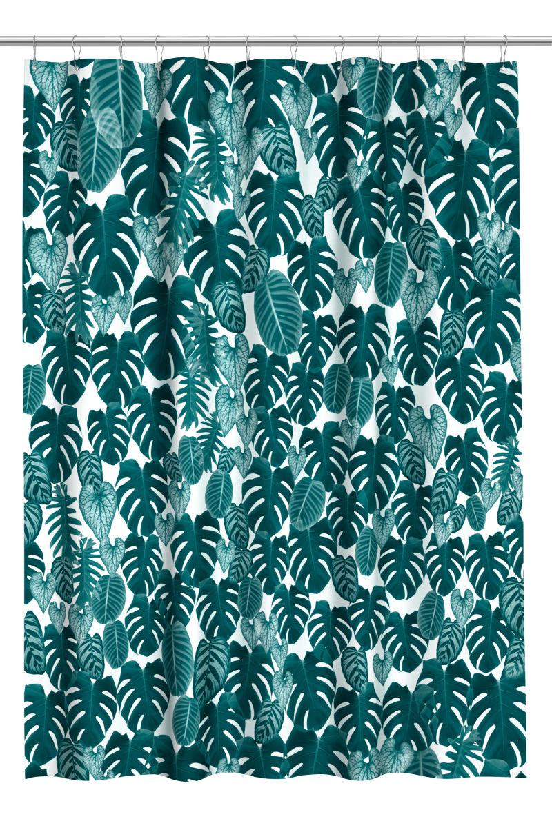 Printed Shower Curtain | Dark green/leaf | SALE | H&M US