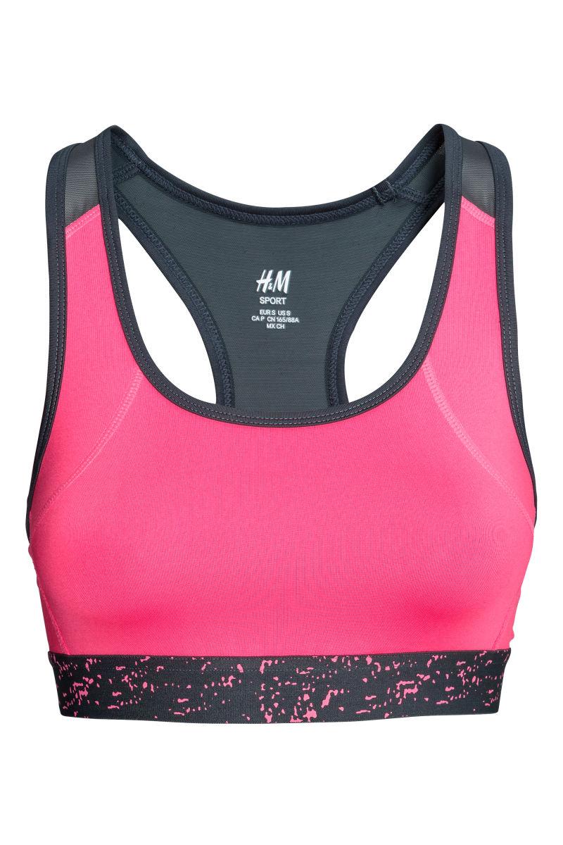 sports bra medium support neon pink sale h m us. Black Bedroom Furniture Sets. Home Design Ideas