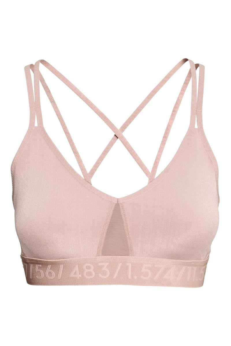 sports bra medium support powder pink sale h m us. Black Bedroom Furniture Sets. Home Design Ideas