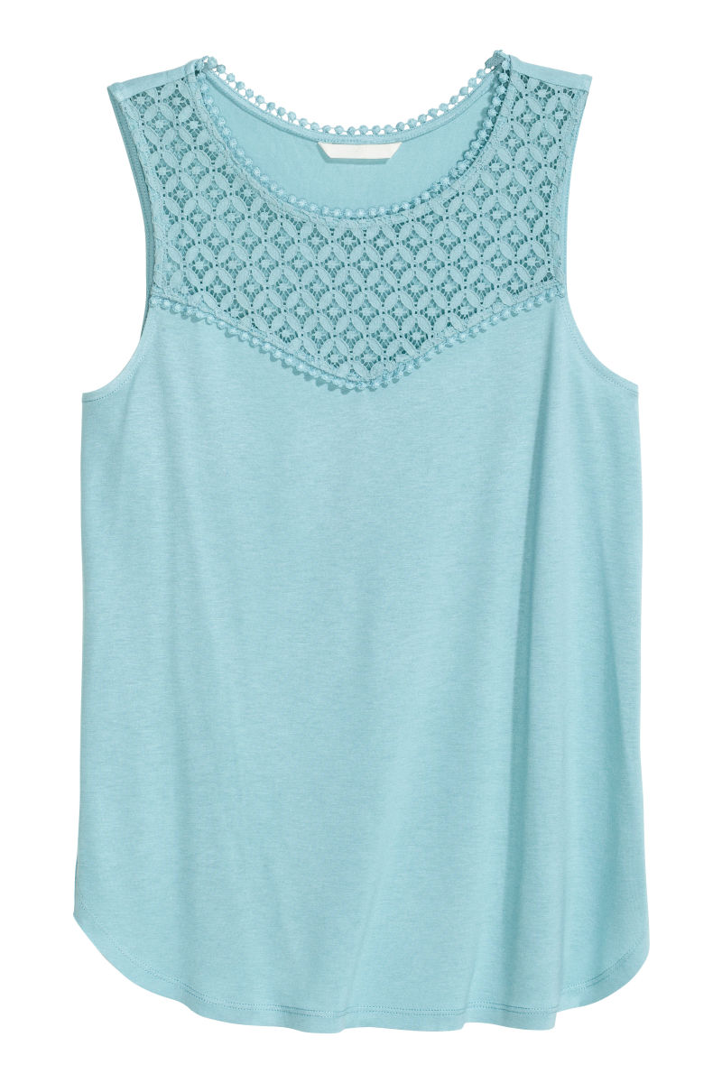 tank top with lace light turquoise sale h m us. Black Bedroom Furniture Sets. Home Design Ideas