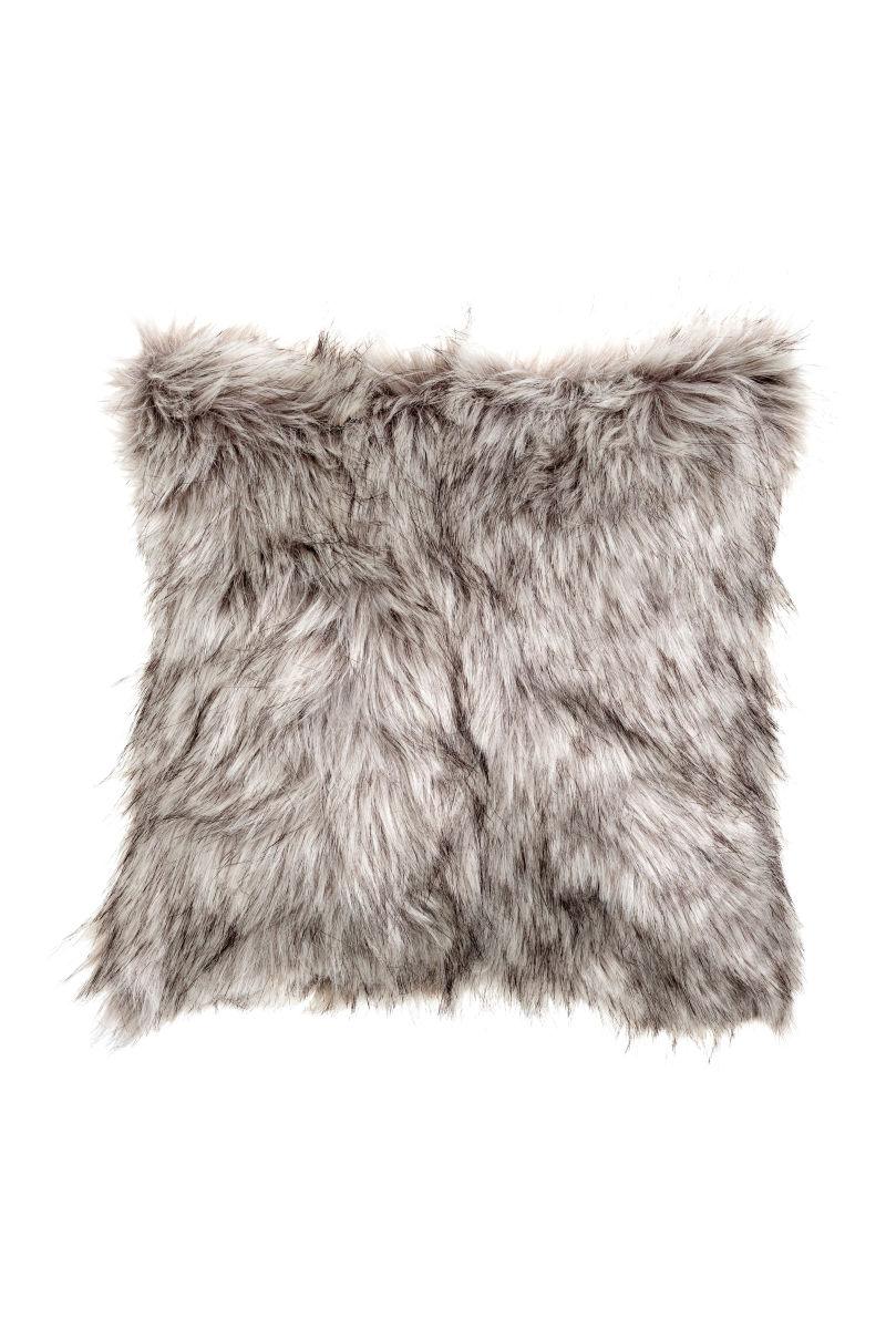 faux fur cushion cover gray sale h m us. Black Bedroom Furniture Sets. Home Design Ideas