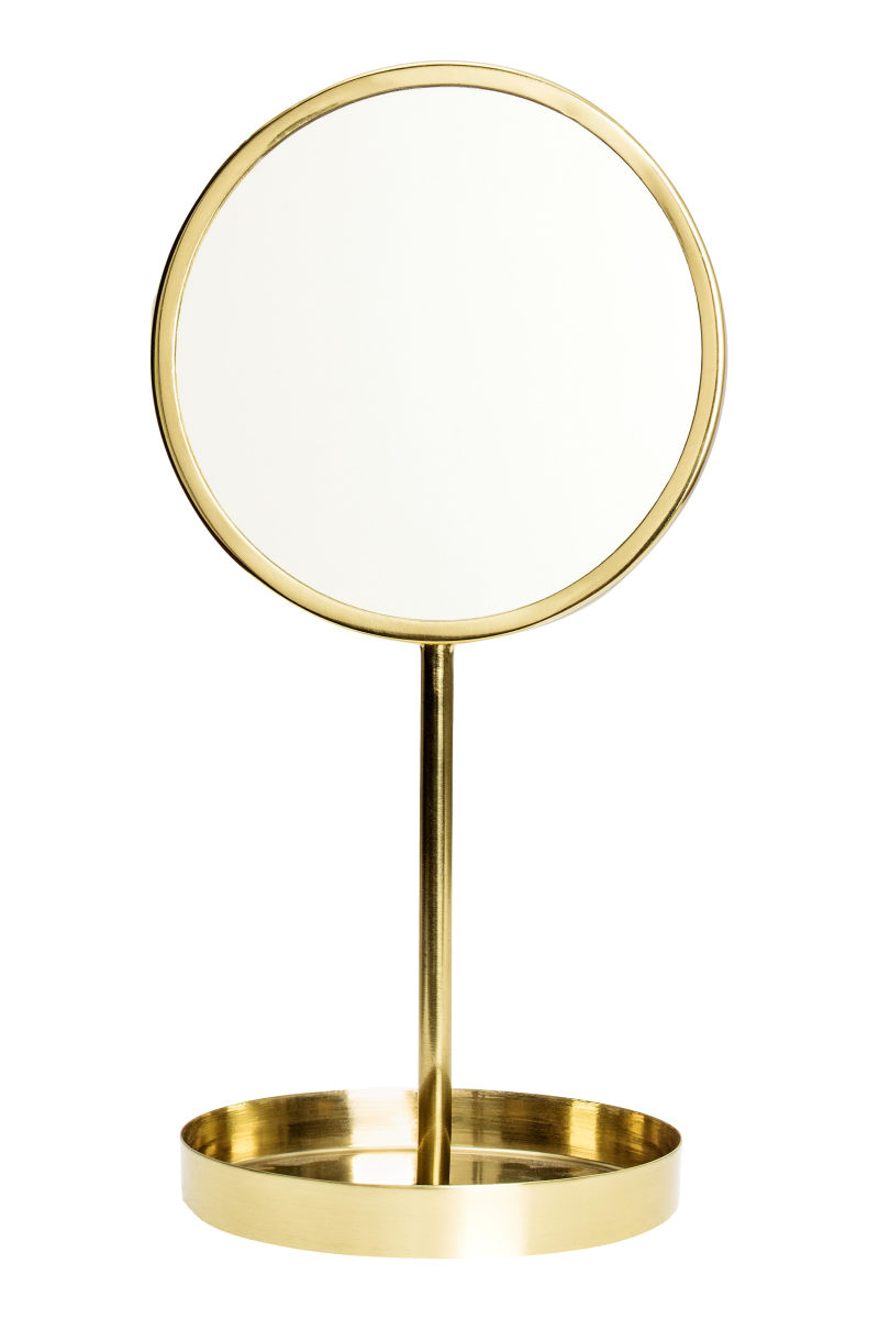 round table mirror gold colored sale h m us. Black Bedroom Furniture Sets. Home Design Ideas